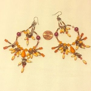 Festival dangle earring orange burgundy brown new